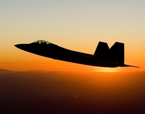 F-22 at sunset