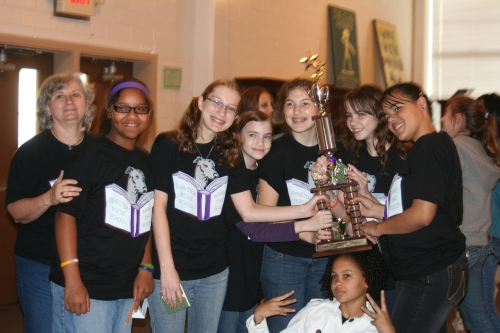 JMS 'Name That Book' team after winning 3d place in HISD on May 8, 2009