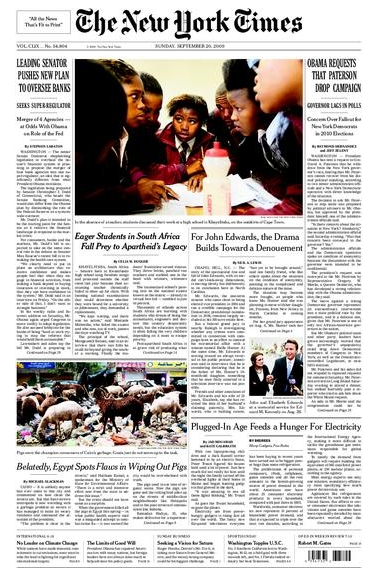 2009-09-20 New York Times front page