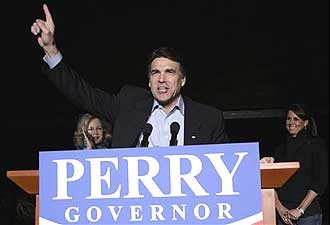 Tex. Gov. Rick Perry after GOP primary win on Mar. 2nd (image: Houston Chronicle)