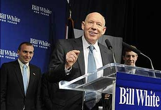 Bill White after Democratic primary win on Mar. 2nd (image: Houston Chronicle)