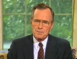 Pres. George H.W. Bush addressing the country on August 8, 1990
