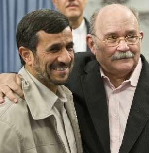 Miguel D'Escoto and a really good friend embrace at the U.N.