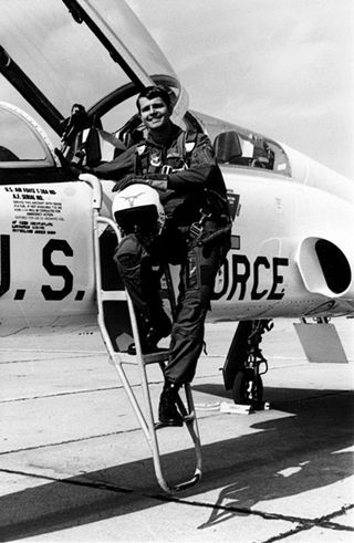 Beldar's friend & correspondent on the cockpit ladder of his Northrup T-38 Talon supersonic jet trainer