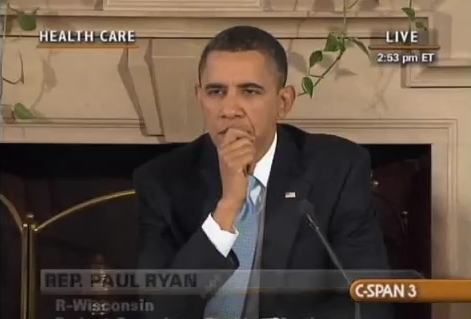Cut-away shot of Obama listening to Ryan's exposure of Obamacare's gimmicks and smoke-and-mirrors at the White House Healthcare Summit in 2010