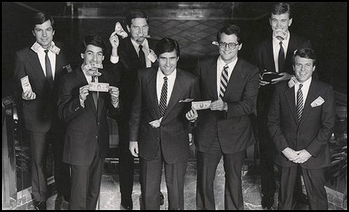 Mitt Romney & colleagues at Bain Capital in gag photo
