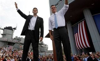 Mitt Romney and Paul Ryan campaigning by the battleship USS Wisconsin in Norfolk, VA, on August 11, 2012