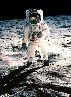 Neil Armstrong, on the surface of the moon in July 1969