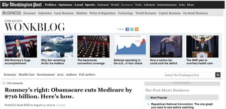 screencap of the Washington Post's 'Wonkblog' article on Aug. 14, 2012