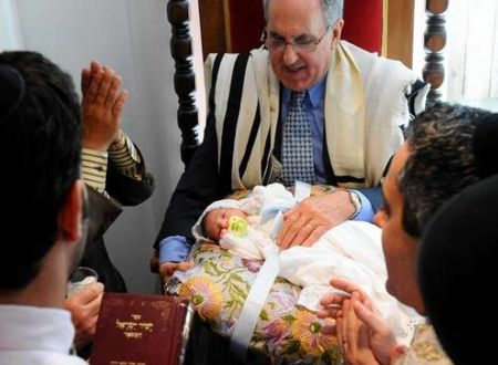 A Jewish circumcision ceremony in San Francisco (photo credit Noah Berger/Associated Press)