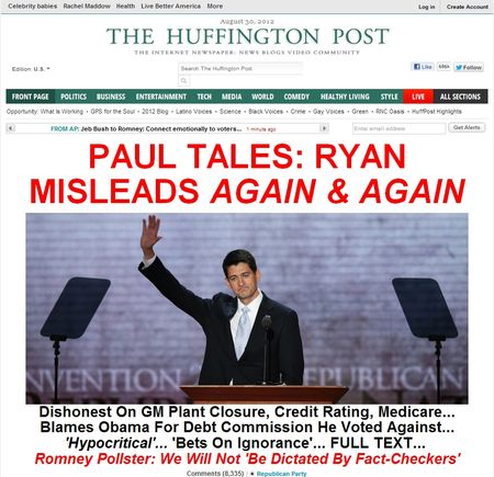 screencap of the Puffington Host's front-page early on Aug. 30, 2012
