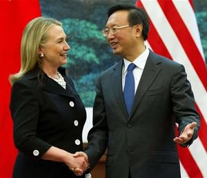 US SecState Hillary Clinton shakes hands with Chinese Foreign Minister Yang Jiechi on Wed., Sep. 5, 2012, in Beijing. Fair-use photo credit: JIM WATSON/AFP/GettyImages via https://www.telegraph.co.uk