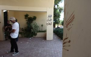 Bloody handprints on the walls outside the attack site in Libya