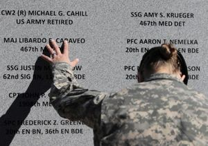 unidentified soldier at memorial to the victims of the Fort Hood massacre
