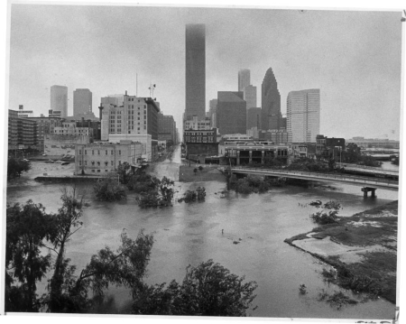 Buffalo Bayou flooding near downtown after Hurricane Alicia in August 1983