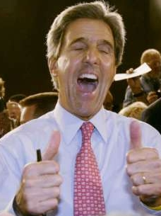 Reuters' caption:  'Democratic presidential nominee John Kerry gives two thumbs for a supporter after a town hall meeting in West Palm Beach, Florida September 22, 2004.'