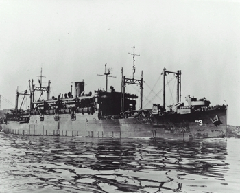 USS Zeilin (APA-3), in San Francisco Bay, California, circa late 1945.