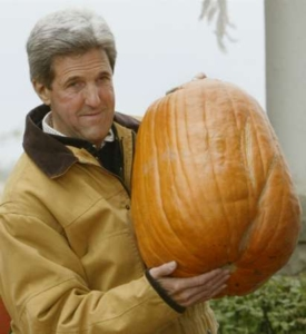 Reuters' caption: 'Democratic presidential nominee John Kerry holds up the pumpkin he chose at the Garringer Family Pumpkin Patch in Jeffersonville, Ohio October 16, 2004, part of a day-long campaign bus trip through Ohio'