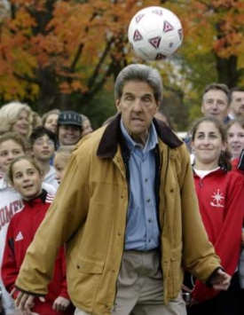 Reuters' caption: 'Democratic presidential nominee John Kerry heads a soccer ball during a visit to a youth soccer clinic in Brown Deer, Wisconsin October 15, 2004 as part of a daylong three-city campaign trip through Wisconsin.'
