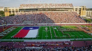 Giant Texas flag and Longhorn Band at UT's Memorial Stadium