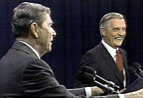Reagan and Mondale during the second 1984 Presidential Debate
