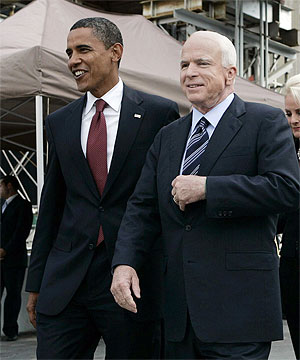 Sens. Barack Obama and John McCain at Ground Zero on 9/11/08 (Reuters)