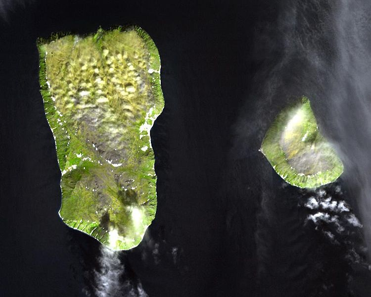 Satellite photo of Big and Little Diomede Islands