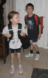 Adam and his little sister Molly leaving for school