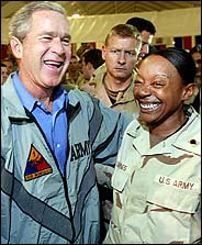 Dubya at mess in Bagdhad