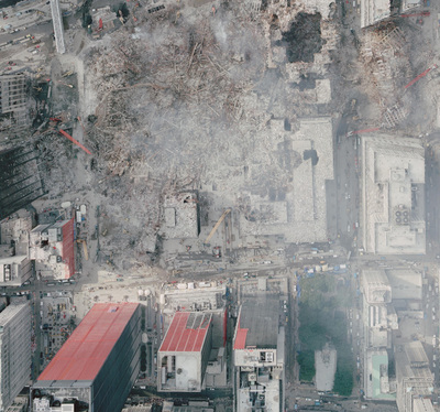 National Oceanic & Atmospheric Administration satellite photo of WTC crash site