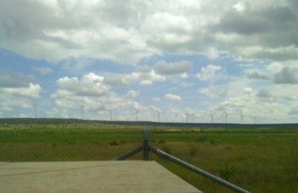 Windmills between Sterling City and Big Spring, Texas