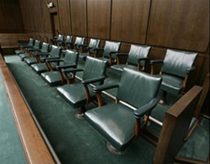 Jury box in a Houston federal court