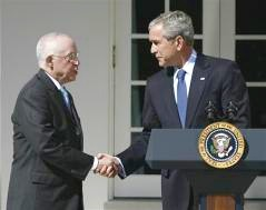 Pres. Bush & AG-nominee Michael B. Mukasey (Reuters photo)