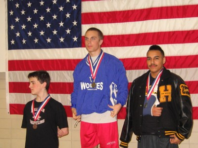 Top three finishers among the men's 140-pound category: Ducker (center), Guzman (right) and Dyer (left)