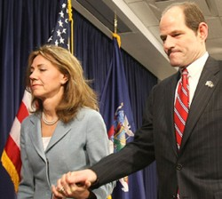 N.Y. Gov. Eliot Spitzer and wife leaving press conference