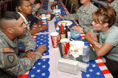 Gov. Palin in Kuwait with soldiers of 3rd Battalion, 297th Infantry Regiment, Alaska National Guard
