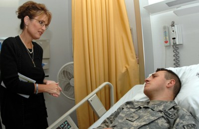 Gov. Palin visits Army Private James Pattison at Landstuhl Regional Medical Center