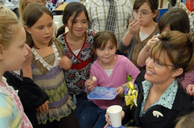 Governor Sarah Palin and daughter Piper Palin (in pink to the Governor's right) share Russian tea and cookies with Nancy Hakari's 3rd grade class at Riverbend Elementary School in Juneau