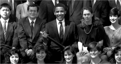 Barack Obama among Harvard Law Review editors in 1990 (photo: NYT)