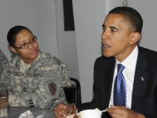 Sen. Barack Obama, seen here with Sgt. 1st Class Ishanna Fenton of Combined Security Transition Command, visited Camp Eggers in Kabul, Afghanistan, on Sunday; CSTC photo