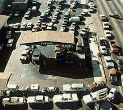 Gas station lines like these weren't just common, but universal, during late 1973-early 1974