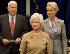 Sen. John McCain's 96-year-old mother, Roberta McCain, leading him and his wife Cindy on April 1, 2008, at Episcopal High School in Alexandria, Virginia, which McCain attended in the early 1950s (AP photo).