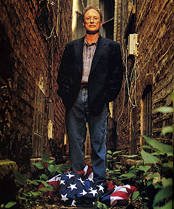 Bill Ayers, trampling an American flag for an August 2001 article in Chicago Magazine entitled 'No Regrets.'