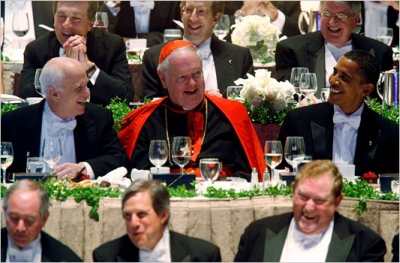 Sens. John McCain and Barack Obama at the Alfred E. Smith Memorial Foundation Dinner in New York City on Thursday, Oct. 16, 2008, with Cardinal Edward M. Egan, head of the Archdiocese of New York (photo: Damon Winter/The New York Times)