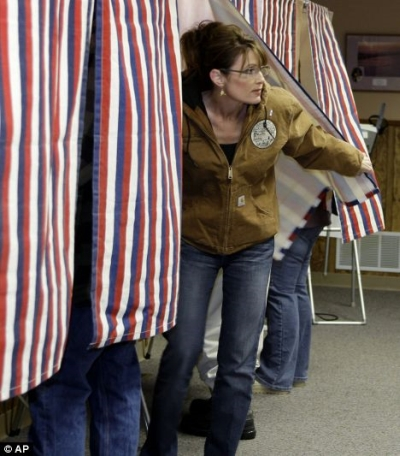 Gov. Sarah Palin voting in Wasilla, Alaska, on Nov. 4, 2008