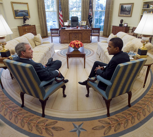 President George W. Bush and President-Elect Barack Obama meet in the Oval Office on Monday, November 10, 2008
