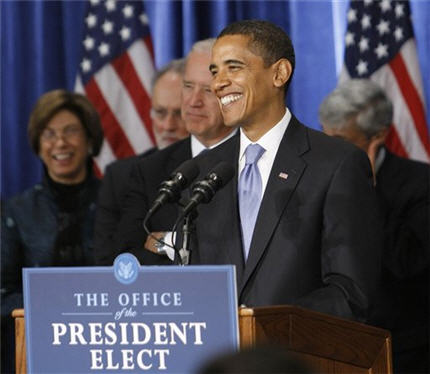 President-elect Obama, with silly seal, at a press conference on Nov. 10, 2008